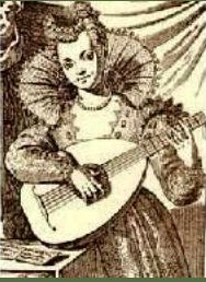 Modesta playing the lute, artist unknown, public domain