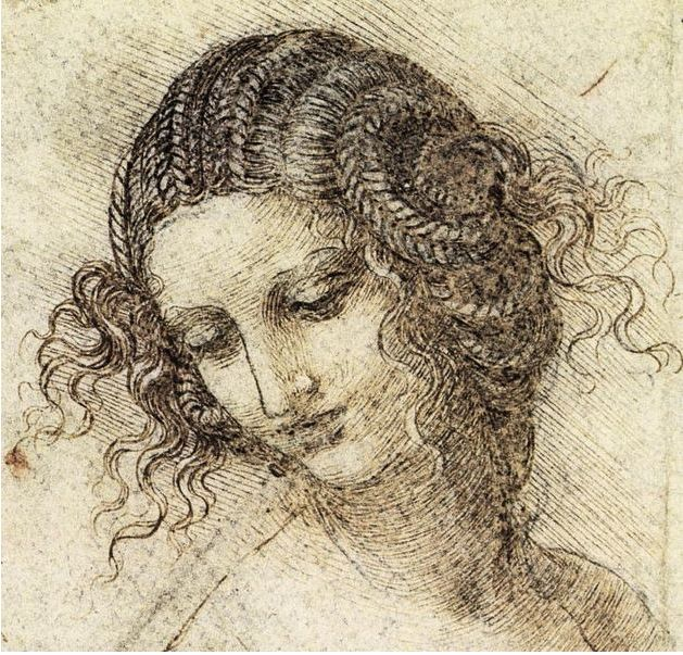 Study for the Head of Leda (c. 1505 - 1507), by Leonardo da Vinci. Public Domain.