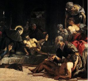 San Rocco Healing Plague Victims, Tintoretto, Public Domain, http://commons.wikimedia.org/wiki/File%3AJacopo_Tintoretto_-_St_Roch_in_the_Hospital_(detail)_-_WGA22607.jpg